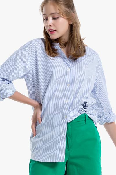 코튼 오버핏 스트라이프 셔츠