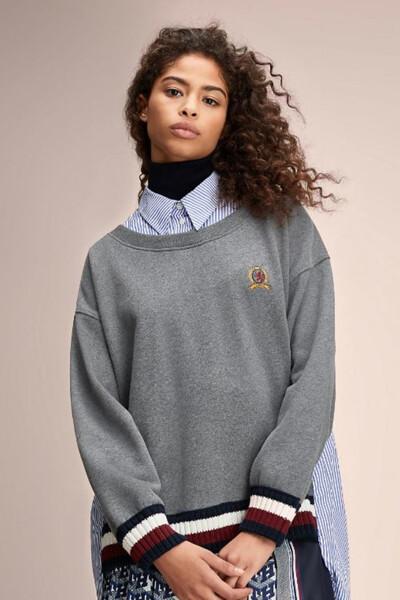 면혼방 하이브리드 긴소매 스웨트셔츠