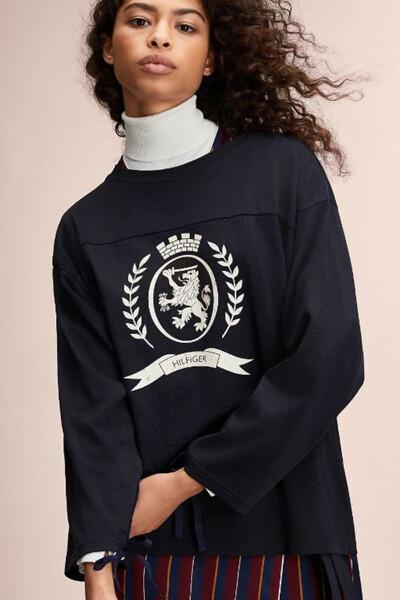 비스코스혼방 크레스트 긴소매 풋볼 티셔츠