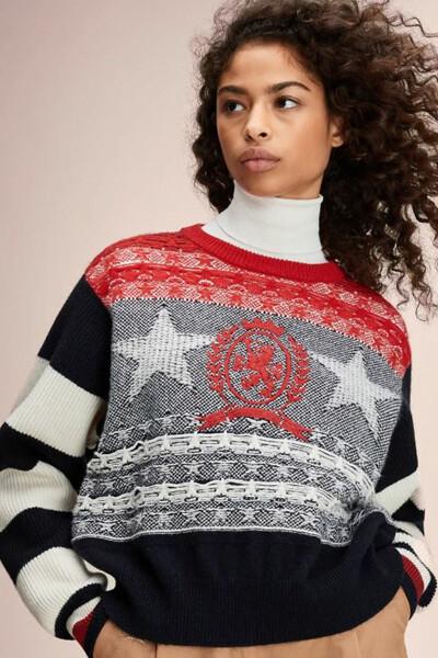 울 별 스트라이프 숏 스웨터