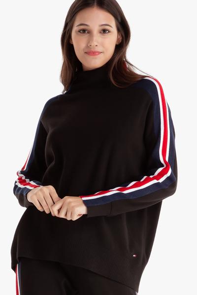 면혼방 스트라이프 목넥 스웨터