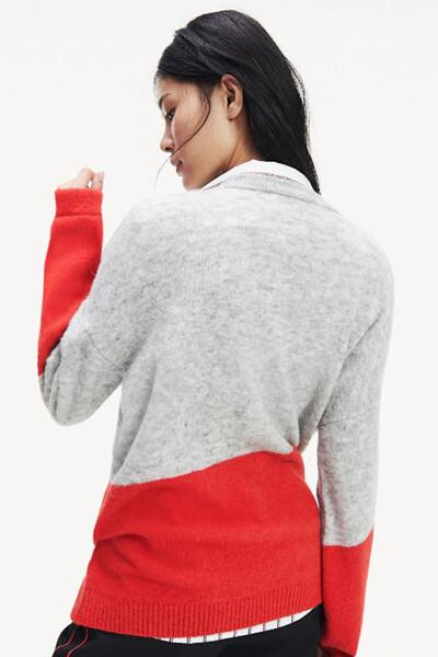 울혼방 컬러블록 크루넥 스웨터