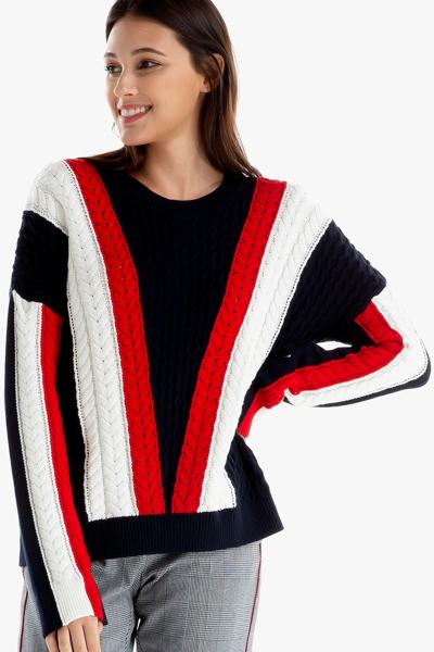 면혼방 케이블 크루넥 스웨터
