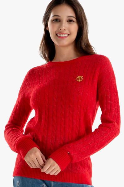 울혼방 케이블 크루넥 스웨터