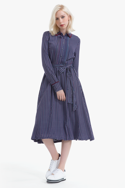 비스코스 모노그램 셔츠 드레스