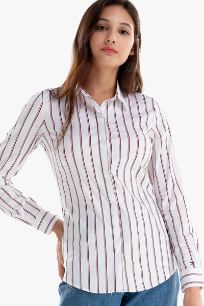 면혼방 슬림핏 스트라이프 셔츠