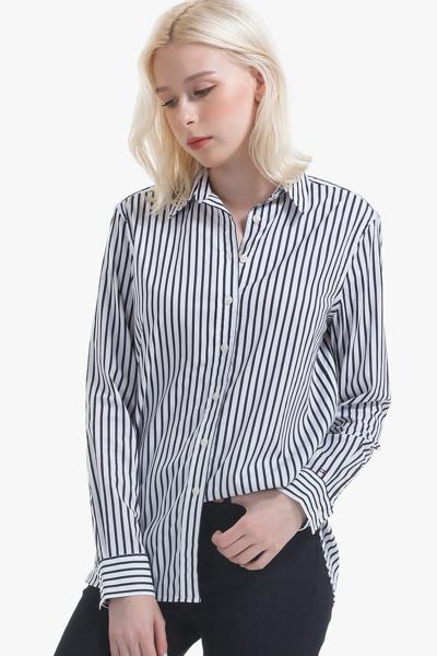 면혼방 레귤러핏 스트라이프 셔츠