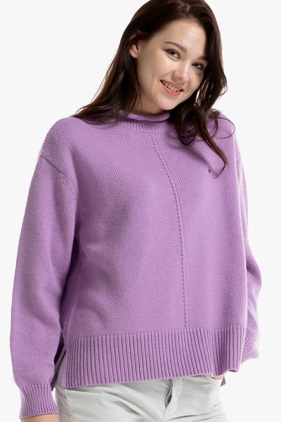 아크릴혼방 솔리드 목넥 스웨터