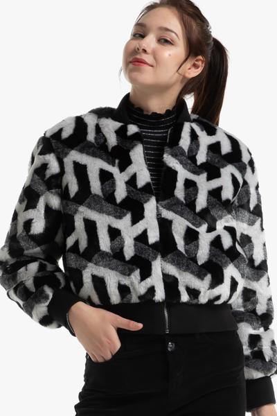 페이크 퍼 TH 큐브 숏 자켓