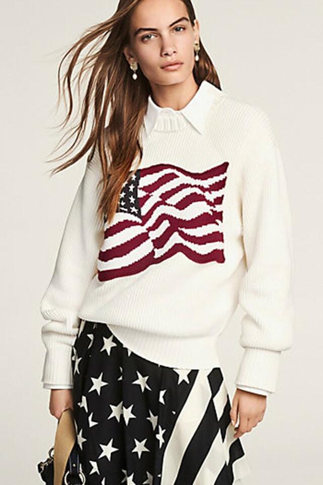 면혼방 플래그 긴소매 스웨터