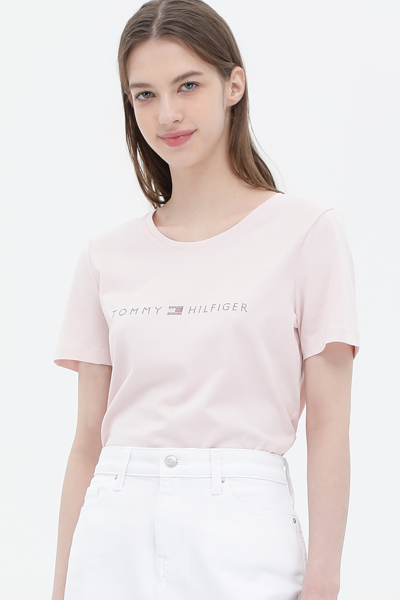 코튼 큐빅 로고 반소매 티셔츠