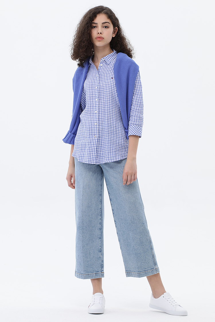 린넨 루즈핏 깅엄체크 7부 셔츠