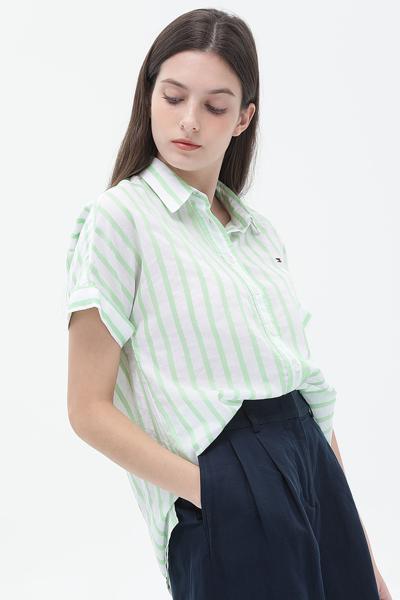 코튼 오버핏 레일라 스트라이프 셔츠