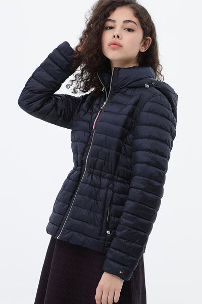 오리털 레귤러핏 비비드 후드 자켓