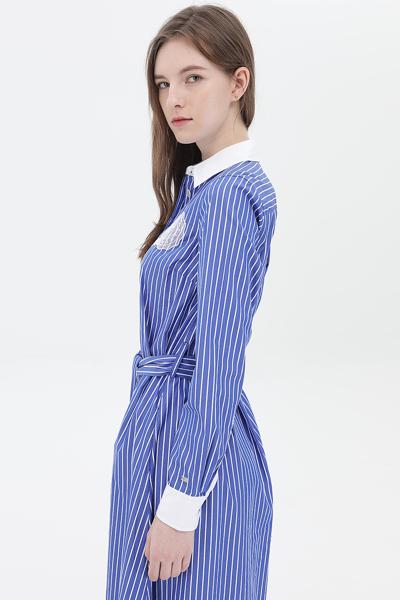 코튼 스트라이프 미디 셔츠 드레스