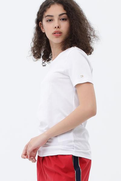 코튼 슬림핏 아이콘 크루넥 티셔츠
