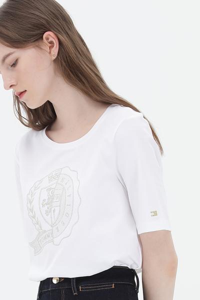 코튼 레귤러핏 아이콘 크루넥 티셔츠