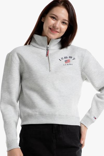 면혼방 릴렉스핏 로고 하프 집업 티셔츠