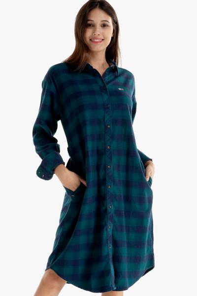 코튼 체크 로고 긴소매 셔츠 원피스