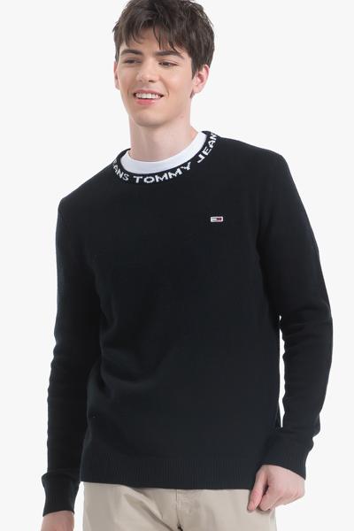 울 넥라인 레터링 스웨터