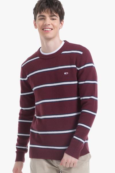 울 스트라이프 크루넥 스웨터