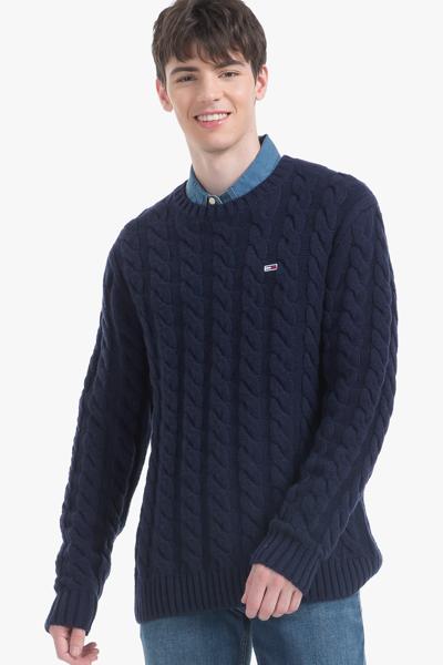 모혼방 클래식 솔리드 케이블 스웨터