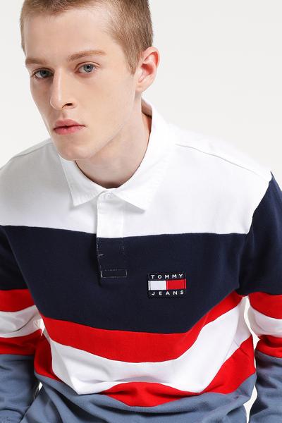 코튼 레귤러핏 컬러 블록 럭비 티셔츠