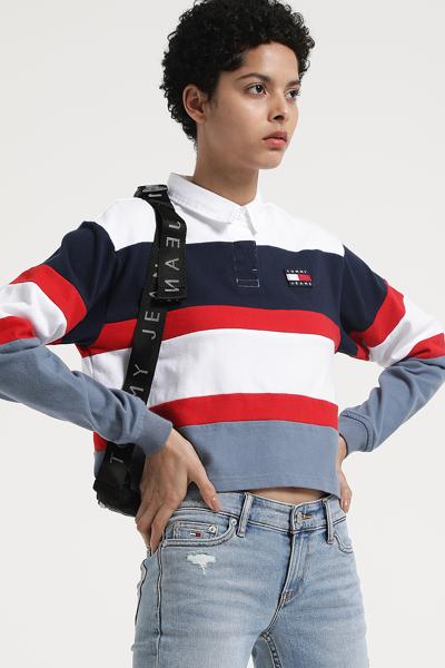 코튼 오버핏 크롭 럭비 티셔츠