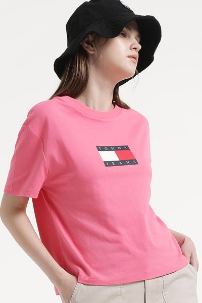 코튼 플래그 크롭 티셔츠