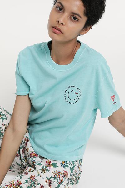코튼 스마일 로고 프린팅 크롭 티셔츠