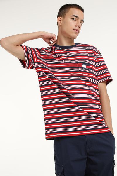 코튼 얼터네이트 스트라이프 포켓 반소매 티셔츠