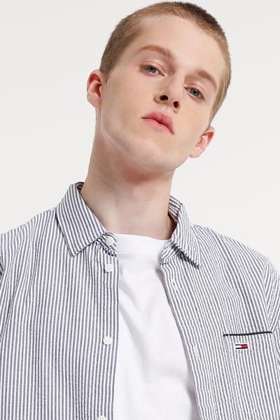 코튼 오버핏 시어서커 하프 셔츠