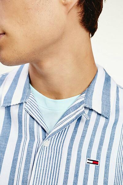 면 혼방 박시핏 믹스 스트라이프 셔츠