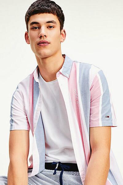 코튼 오버핏 레트로 스트라이프 반소매 셔츠