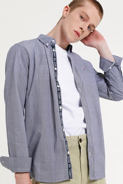 코튼 글랜체크 긴소매 셔츠
