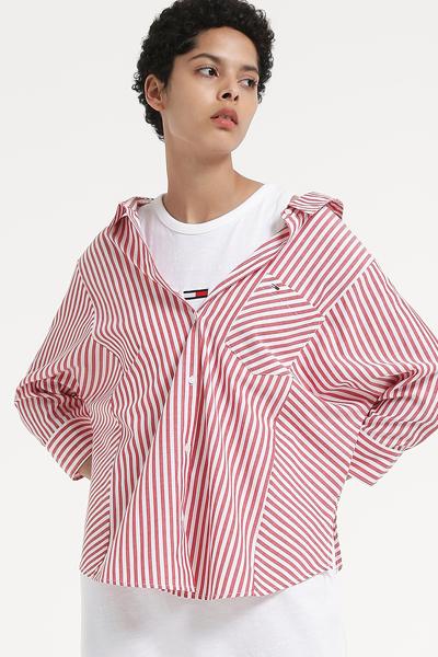 폴리 혼방 오버핏 스트라이프 셔츠