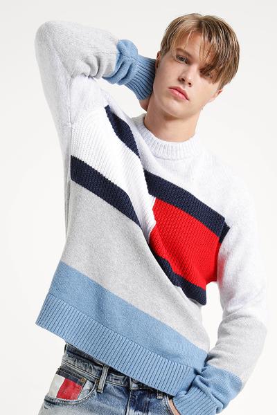 면 혼방 오버핏 플래그 컬러블록 스웨터