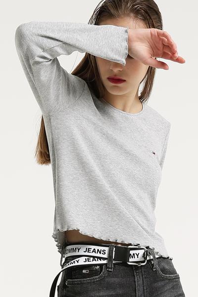 롱 슬리브 리브 크롭 티셔츠