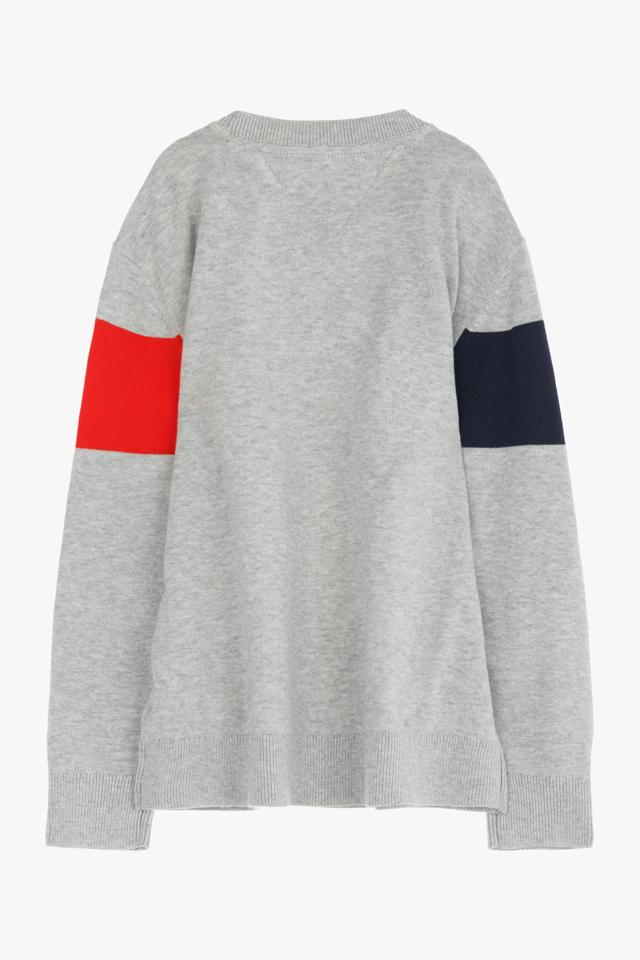 코튼 컬러블록 로고 크루넥 스웨터
