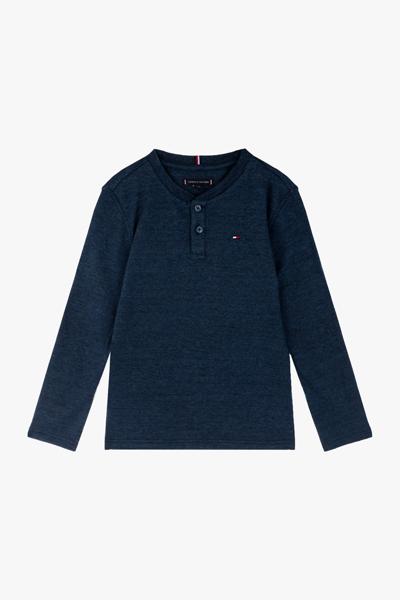 면혼방 와플 헨리넥 티셔츠