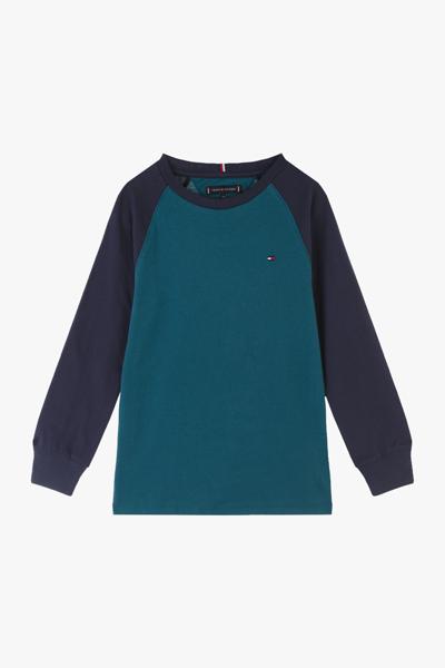 코튼 컬러블록 레글런 티셔츠