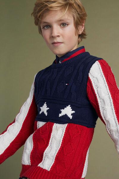 면혼방 성조기 크루넥 스웨터