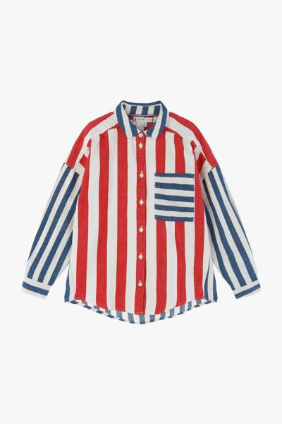 코튼 오버사이즈핏 스트라이프 셔츠