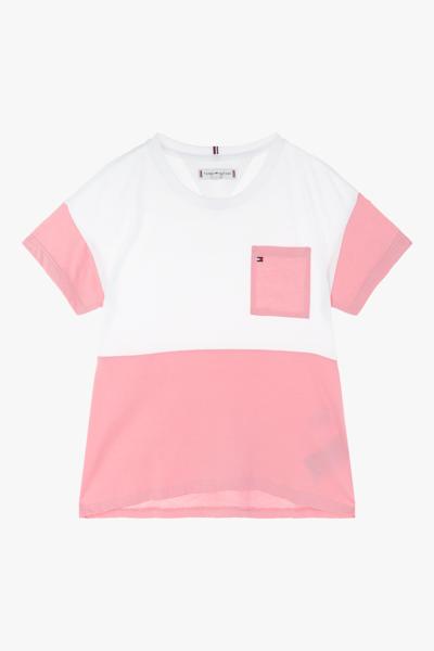 면혼방 컬러블록 반소매 티셔츠