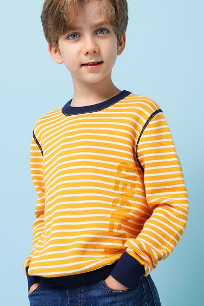 면혼방 스트라이프 로고 크루넥 스웨터