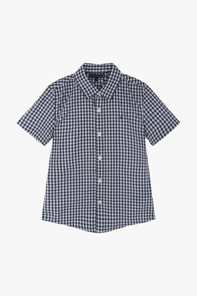 코튼 깅엄 체크 반소매 셔츠