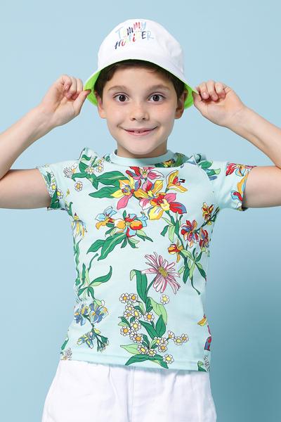 코튼 레귤러핏 플라워 프린팅 티셔츠