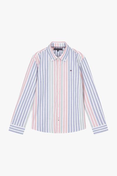 면혼방 스트라이프 버튼다운카라 셔츠