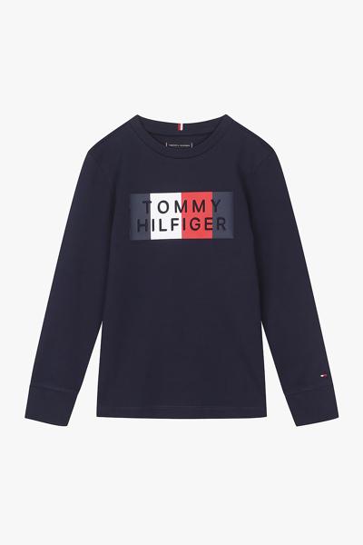 코튼 스트라이프 그래픽 라운드넥 티셔츠