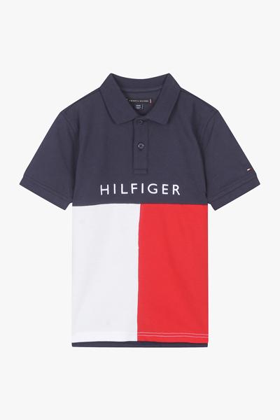 코튼 스탠다드핏 컬러 블록 폴로 반소매 티셔츠